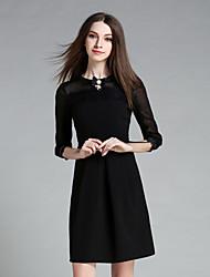 ainier Frauen formale nette Hülle dresssolid Rundhalsausschnitt über Knie Hülse schwarz Polyester / Spandex