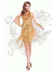 Latin Dance Dresses Women's Performance Chinlon Sequins / Tassel(s) 2 Pieces Dance Costumes with Neckwear Gold