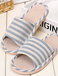 Men's Slippers & Flip-Flops Fall Slingback Linen Casual Flat Heel Others Blue Dark Gray Others