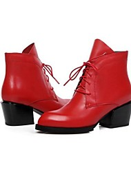 Women's Boots Fall / Winter Combat Boots Leather Outdoor Chunky Heel Lace-up Black / Red Others