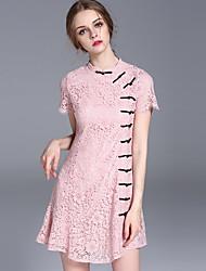 sortir la gaine de chinoiserie des femmes frmz dresssolid tiennent au-dessus du genou court rose manches