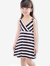 Girl's Casual/Daily Striped DressCotton / Spandex Summer Blue / Red