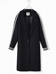 Women's Casual/Daily Street chic Coat,Solid Peter Pan Collar Long Sleeve Fall / Winter Black Wool Thick