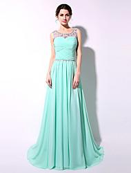 Sheath / Column Scoop Neck Floor Length Chiffon Bridesmaid Dress with Crystal Detailing Side Draping