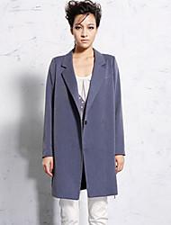 Newbefore Women's Formal Simple CoatSolid Notch Lapel Long Sleeve Fall / Winter Blue / Red