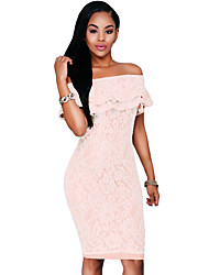 Women's Pink Lace Nude Off-the-shoulder Dress