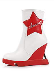 Черный / Белый-Женский-Для праздника / На каждый день-Материал на заказ клиента-На платформе-На каблуках-Ботинки