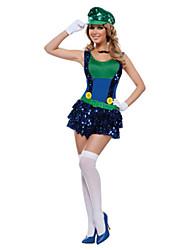 Costumes de Cosplay / Costume de Soirée Superhéros Fête / Célébration Déguisement Halloween Rouge / Vert MosaïqueRobe / Plus