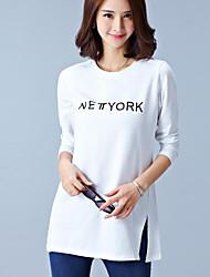 Sweatshirt Femme Grandes Tailles simple Lettre Col Arrondi Micro-élastique Coton Manches Longues Automne