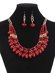Beads  Elegant Luxury Design New Fashion 18k Rose Gold Plated Colorful Austrian Crystal Drop Jewelry Sets Women Gift