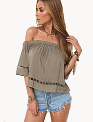Women's Casual/Daily Street chic Summer T-shirtSolid Strapless  Length Sleeve Gray Cotton Opaque