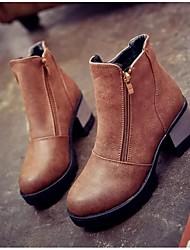 botas femininas outono / inverno botas de combate pu outdoor calcanhar robusto zíper outros negros / marrom / cinza