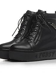 Damen-Stiefel-Outddor-Leder-Keilabsatz-Modische Stiefel-Schwarz / Weiß