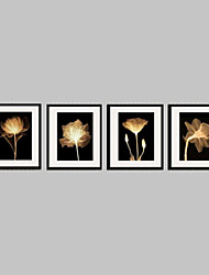 Floral/Botanical Framed Canvas / Framed Set Wall Art,PVC Material Black Mat Included With Frame For Home Decoration Frame Art
