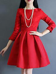 Damen A-Linie Kleid-Formal Anspruchsvoll Stickerei Rundhalsausschnitt Übers Knie ¾-Arm Rot Nylon Herbst Mittlere Hüfthöhe Mikro-elastisch