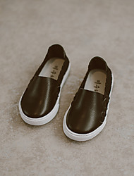 Girl's Loafers & Slip-Ons Spring / Fall Closed Toe Leather Outdoor Flat Heel Split Joint Black / Pink / White Others