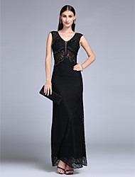 Formal Evening Dress - Open Back Trumpet / Mermaid V-neck Floor-length Lace with Lace Split Front