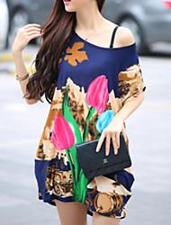 Mulheres Camiseta Casual Simples / Moda de Rua Verão,Floral / Estampado Colorido Seda Decote Redondo Manga Curta Fina