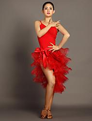 Tenue(Noire / Rouge,Viscose,Danse latine)Danse latine- pourFemme Au drapée Spectacle Danse latine Taille moyenne