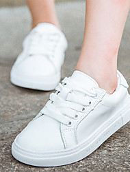 Unisex Sneakers Spring Fall Leather Athletic Flat Heel White
