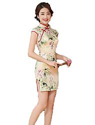 One-Piece Short Sleeve Medium Length Beige Lolita Dress Polyester Cheongsam