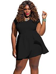 Women's Big Girl Black Plus Peplum Romper