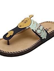 Damen-Slippers & Flip-Flops-Lässig-PU-Flacher Absatz-Flip - Flops / Vorne offener Schuh-Blau / Beige