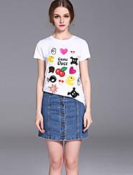 случайные / сут мило летом T-shirtembroidered шею с коротким рукавом frmz женщин