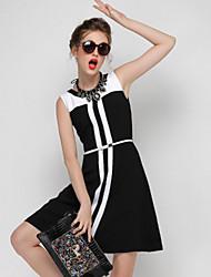 DREAMY LAND  Women's Formal Simple Sheath DressColor Block Round Neck Above Knee Sleeveless Black
