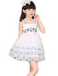 Girl's Going out Floral Dress,Cotton / Polyester Summer Blue / Red