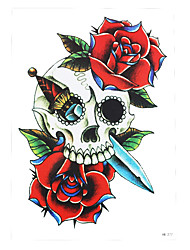 1pc Sexy Product Skull Bone Sword Rose Flower Pattern Tattoo Temporary Tattoo Body Back Art Sticker HB-277