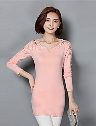 Spring Fall Casual Plus Size Women's Tops Dresses Solid Color V Neck Hollowing Long Sleeve Slim Bottoming Dress