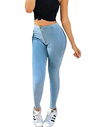Women's Solid Blue Jeans / Skinny PantsSexy / Simple