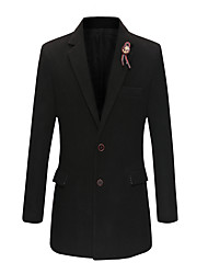 Men's Solid Casual / Formal Trench coatBamboo Fiber / Polyester Long Sleeve-Black / Blue / Red