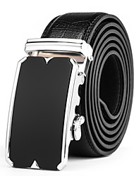 Men's Suits Dress Black Silver Automatic Belt Buckles Black Leather Wide Waist Belt Strap