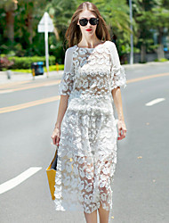 Boutique S Women's Going out Sophisticated Summer Set SkirtSolid Round Neck  Length Sleeve White