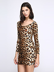 Women's Backless Club Sexy Bodycon Dress,Leopard U Neck Mini Long Sleeve Brown Cotton/Modal/Spandex Summer Mid Rise Stretchy Opaque/Thin