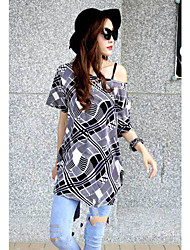 Women's Round Neck Blouse , Chiffon Short Sleeve