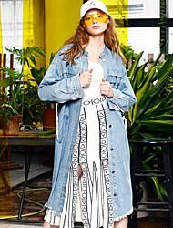 occasionnels / journaliers rue chics automne denim vestes pour femme liangsanshi, manches longues moyenne de coton bleu stand solide
