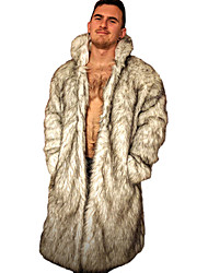 Men's Color Block Plus Size CoatFaux Fur Long Sleeve-White