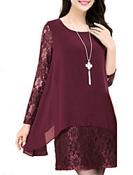 Women's Casual/Daily Simple Plus Size / Loose Dress,Patchwork Round Neck Above Knee Long Sleeve Red / Black Cotton / Polyester All Seasons