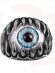 Retro Mens Rings Punk Stainless Steel Blue Evil Eye Band Ring Vintage Men Jewelry World of Warcraft aneis