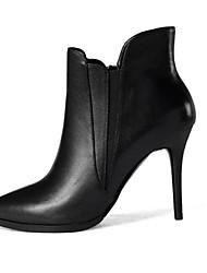 Damen-Stiefel-Outddor-Leder-Stöckelabsatz-Modische Stiefel-Schwarz / Grau