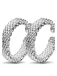 Fine 925 Silver Pierced Hoop Stud Earrings for Women