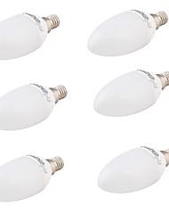 4W E14 Ampoules Bougies LED A60(A19) 6 SMD 5730 320 lm Blanc Chaud Décorative AC 85-265 V 6 pièces