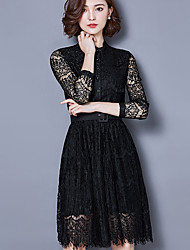 Women's New Fashion Stand Collar Lace Medium Style Dresses