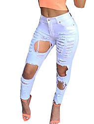 Women's Solid White / Black Jeans PantsSexy