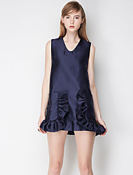 Trapèze Robe Femme Sortie simple / Mignon,Couleur Pleine Col en V Au dessus du genou Sans Manches Bleu Polyester Eté Taille NormaleNon