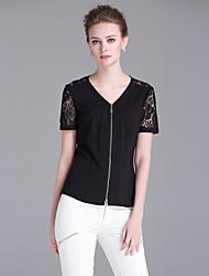 Tee-shirt Aux femmes,Mosaïque Sortie Sophistiqué Eté Manches Courtes Col en V Noir Rayonne / Polyester Moyen