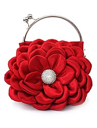 L.west Women Elegant High-grade Silk Flower Diamond Evening Bag